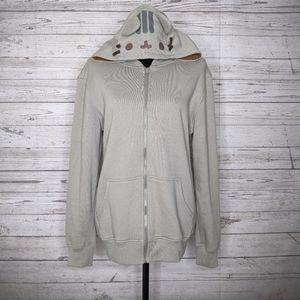 pusheen full zip hoodie w/ ears & tail